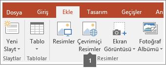 Office uygulamalarına çevrimiçi resim ekleme işleminin ekran görüntüsü.