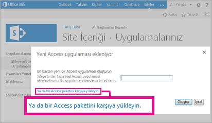 SharePoint sitesinde Uygulama ekle sayfasına bir Access uygulaması paketi yükleme