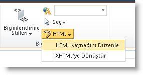 html kaynağını düzenle komutu