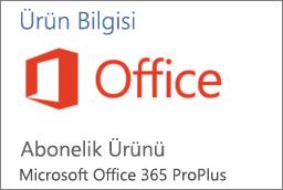 Bir Office uygulamasındaki Ürün Bilgileri bölümünün ekran görüntüsü. Uygulamanın, Office 365 ProPlus için bir Abonelik Ürünü olduğunu gösterir.