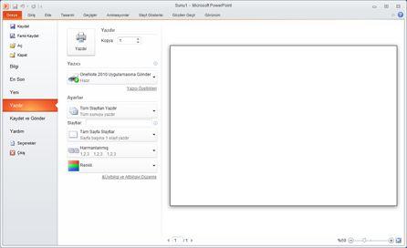 PowerPoint 2010'da Dosya sekmesi, Yazdır'a bakma.