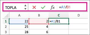 Formülün gösterildiği formül çubuğu