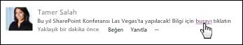 Görüntülenen metinle biçimlendirilmiş gönderide web sayfası bağlantısı