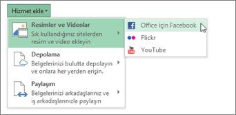 Flickr veya Office için Facebook gibi bir hizmet ekleme