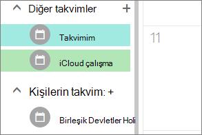 Web'deki Outlook'ta diğer takvimler altında görünen iCloud Takvim