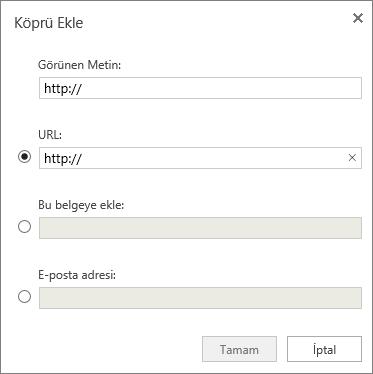 Ekran görüntüsü, görüntü metni ve URL için bilgi girebileceğiniz, belgenin yerini veya bir e-posta adresi belirtebileceğiniz Köprü Ekle iletişim kutusunu gösterir.