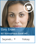 Anlık İleti isteği iletişim kutusu ekran görüntüsü