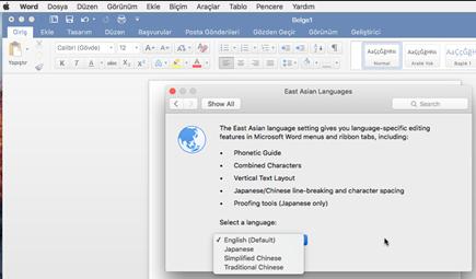 Office Mac 2016 için dil seçimi ekran görüntüsü