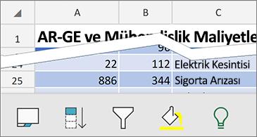 Ekranın alt kısmında kullanılabilir bağlamsal komutları içeren çalışma sayfası