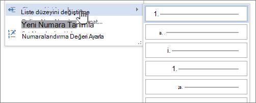Madde işaretli veya numaralandırılmış listeler üzerinde liste düzeyini değiştirme