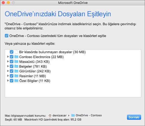 Eşitlenecek klasörleri veya dosyaları seçmek için OneDrive Kurulum menüsünün ekran görüntüsü.