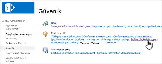 Engellenen dosyalar Yönetim Merkezi güvenlik ile ayarlama