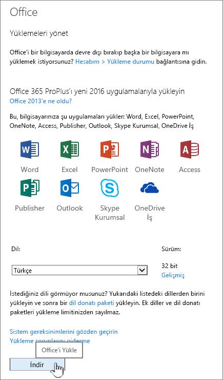 Office 2016 'i indirmek için Office 365 yazılımım