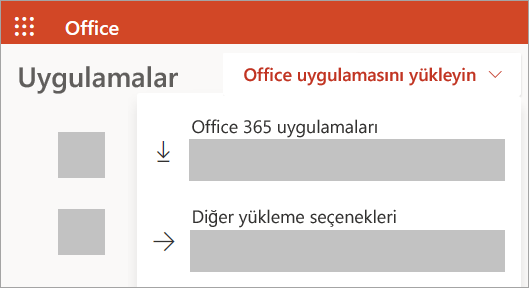 İş veya okul hesabıyla oturum açılan Office.com'un ekran görüntüsü
