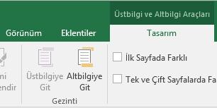 Excel Tasarım araç çubuğu gösterimi