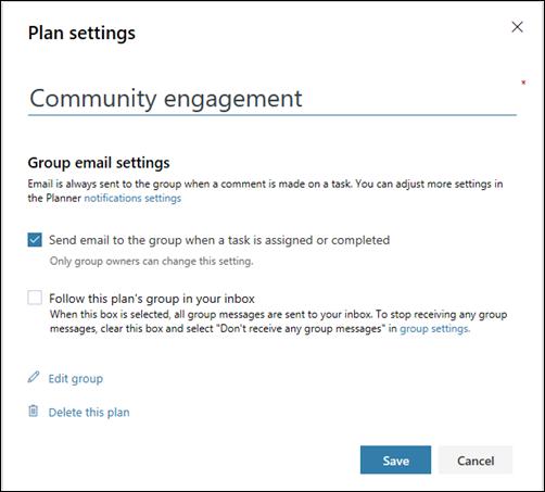 """Ekran yakalaması: """"planın grubuna e-posta gönder..."""" ayarını gösterir plan ayarları için"""