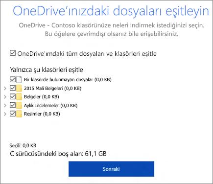 OneDrive'ınızdaki dosyaları eşitleyin iletişim kutusunun ekran görüntüsü