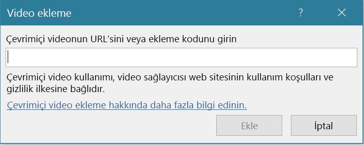 URL ile video eklenecek alanı gösteren bir görüntü.