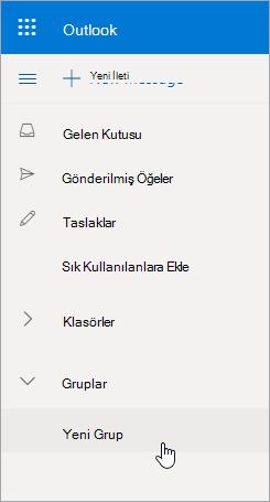 Outlook.com klasör listesinde yeni grup konumu