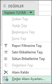 Excel Değer Alanı Ayarları iletişim kutusu