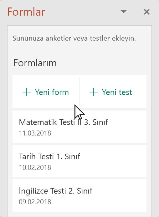 PowerPoint 'te Microsoft Forms bölmesi