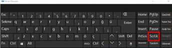 Windows 10 ekran klavyesinde Kaydırma Kilidi tuşu