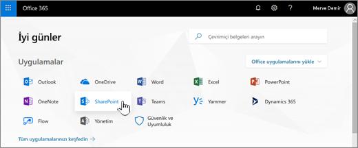 Seçili SharePoint ile Office 365 başlangıç sayfası
