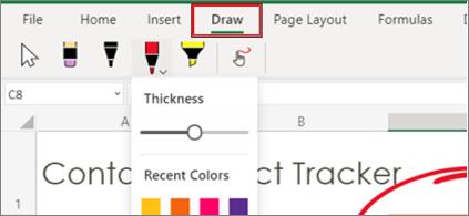 Web için Excel'te Çiz menüsünün ekran Web için Excel