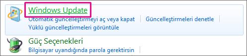 Denetim Masası'nda Windows Update bağlantısı