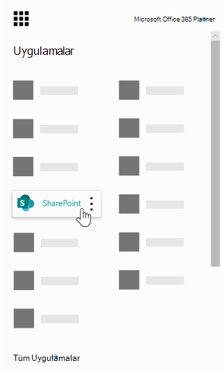 Office 365 uygulama başlatıcıda vurgulandığı SharePoint uygulamasıyla
