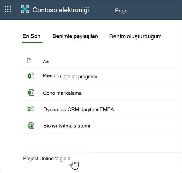 Project 'teki ' Project Web App 'e git ' seçeneği