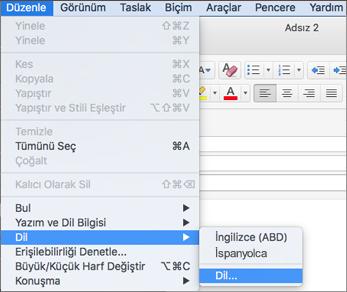 Mac için Outlook 2016 Düzenle > Dil menüsü