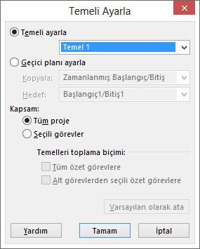 Temeli Ayarla iletişim kutusunun ekran görüntüsü