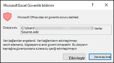Microsoft Excel güvenlik uyarısı-Excel 'In olası bir güvenlik sorunu tanımladığı anlamına gelir. Kaynak dosya konumuna güveniyorsanız Etkinleştir 'i seçin, değilseniz devre dışı bırakın.