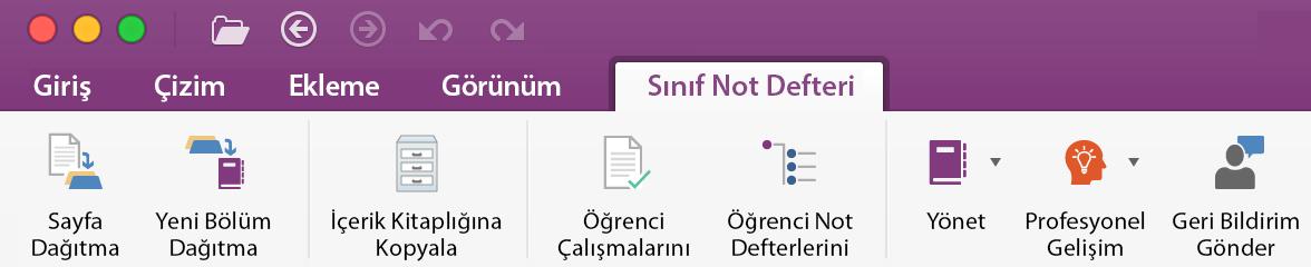 Şeritteki sınıf not defteri Yönetim Araçları