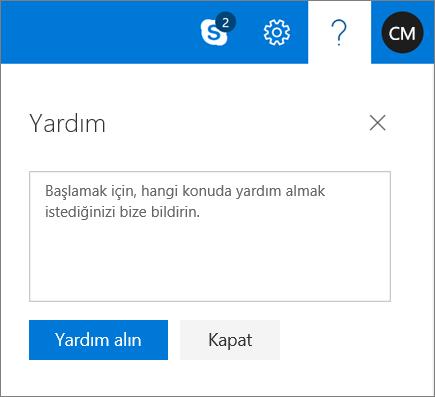 Burada bir sorunla ilgili bilgileri girin ve ardından Get Yardım düğmesini seçin ekran Yardım iletişim kutusunu gösterir.