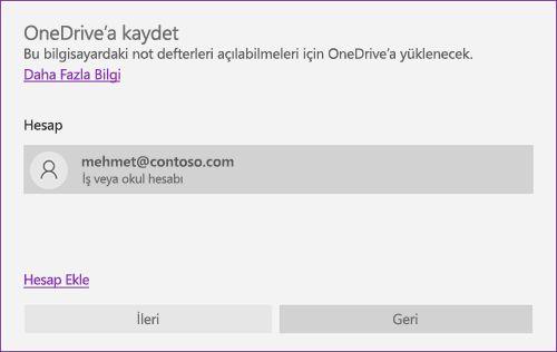 OneNote'ta OneDrive'a Kaydet isteminin ekran görüntüsü