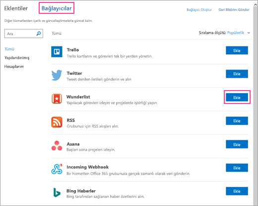 Outlook 2016'da kullanılabilir bağlı hizmetlerin ekran görüntüsü
