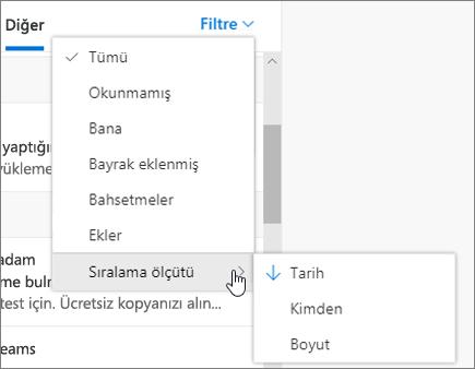 Web üzerinde Outlook'ta e-postayı filtreleme