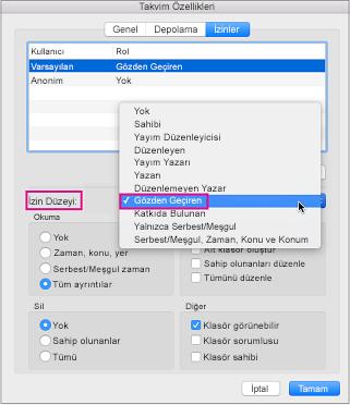Vurgulanmış İnceleme izin Takvim izinleri iletişim kutusu