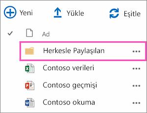 OneDrive İş'teki Herkesle paylaşılan klasörü