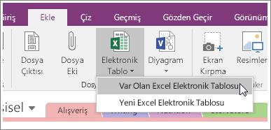 OneNote 2016'daki Elektronik Tablo Ekle düğmesinin ekran görüntüsü