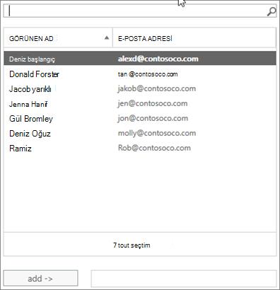 Ekran görüntüsü: arama veya listeden bir kullanıcı seçmek yazın