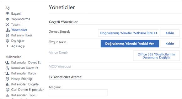 Yöneticilerin listesini gösteren ekran görüntüsü