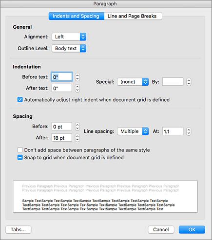 Paragraf iletişim kutusunun ekran görüntüsü