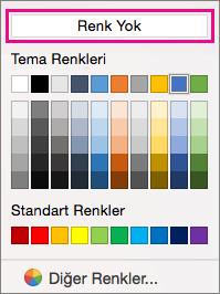 Renk Yok seçeneği vurgulanmış, gölgelendirme renk seçenekleri.