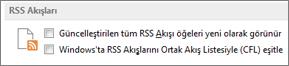 Seçenekler iletişim kutusunun RSS Akışları bölümü