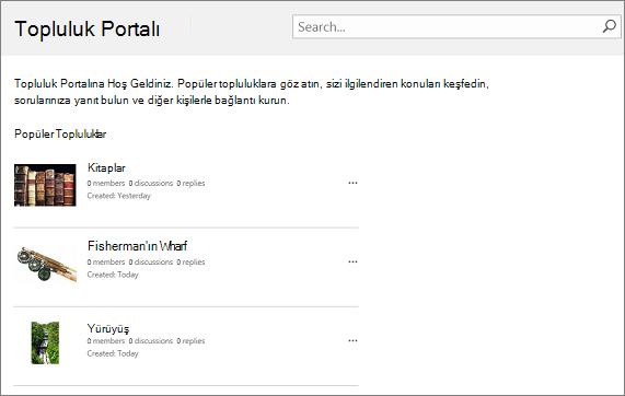 Topluluk portalı örneği