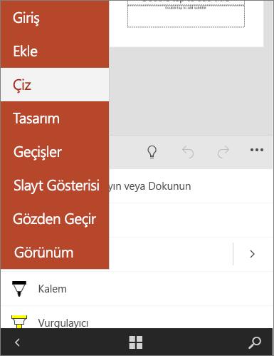 Office Mobile'da Çiz sekmesini seçili gösterir