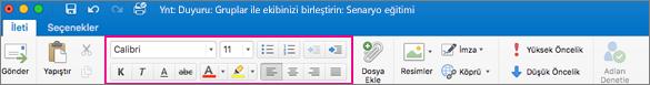Mac için Outlook'ta şeritteki biçimlendirme seçenekleri